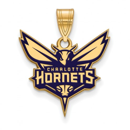 Charlotte Hornets Sterling Silver Gold Plated Large Enameled Pendant