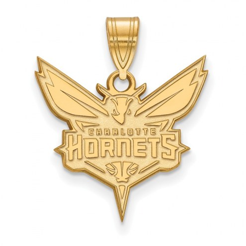 Charlotte Hornets Sterling Silver Gold Plated Large Pendant