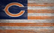 """Chicago Bears 11"""" x 19"""" Distressed Flag Sign"""