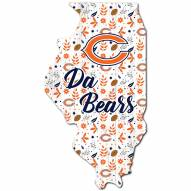 """Chicago Bears 12"""" Floral State Sign"""