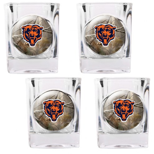 Chicago Bears Open Field 4-Piece RealTree Square Shot Glass Set