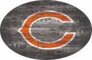 """Chicago Bears 46"""" Distressed Wood Oval Sign"""