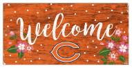 """Chicago Bears 6"""" x 12"""" Floral Welcome Sign"""