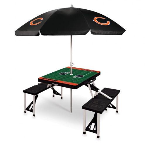 Chicago Bears Black Picnic Table w/Umbrella