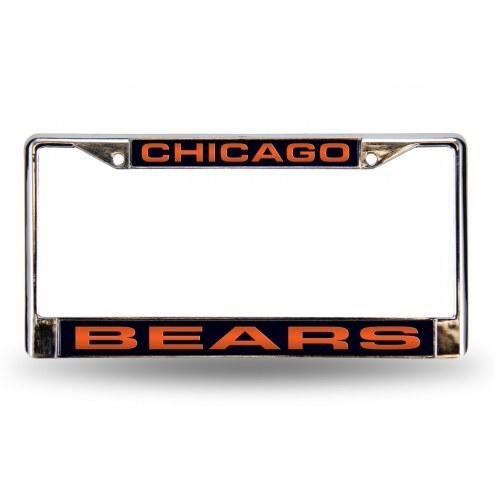 Chicago Bears Blue Laser Chrome License Plate Frame