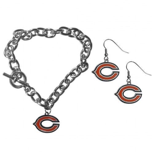Chicago Bears Chain Bracelet & Dangle Earring Set