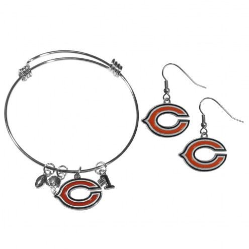 Chicago Bears Dangle Earrings & Charm Bangle Bracelet Set