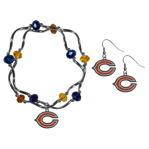 Chicago Bears Dangle Earrings & Crystal Bead Bracelet Set