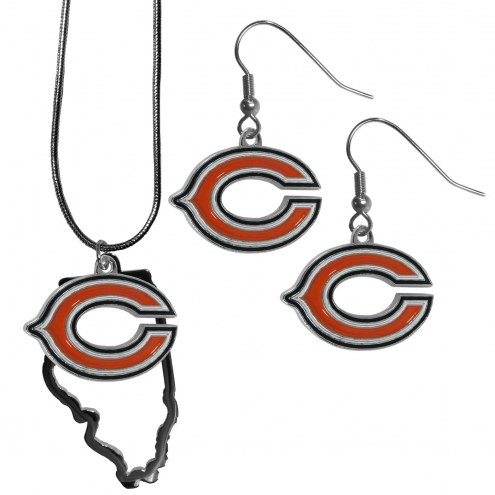 Chicago Bears Dangle Earrings & State Necklace Set
