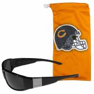 Chicago Bears Etched Chrome Wrap Sunglasses & Bag