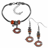 Chicago Bears Euro Bead Earrings & Bracelet Set