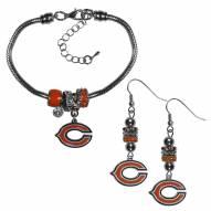Chicago Bears Euro Bead Earrings & Bracelet Set