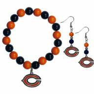 Chicago Bears Fan Bead Earrings & Bracelet Set