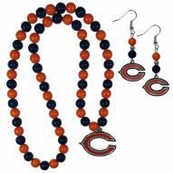 Chicago Bears Fan Bead Earrings & Necklace Set