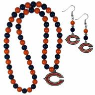 Chicago Bears Fan Bead Earrings & Necklace Set