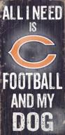 Chicago Bears Football & Dog Wood Sign