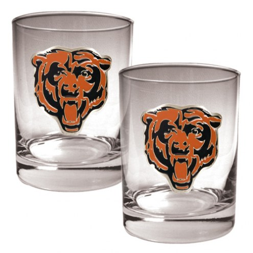 Chicago Bears Logo Rocks Glass - Set of 2