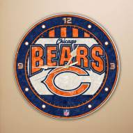 Chicago Bears NFL Stained Glass Wall Clock