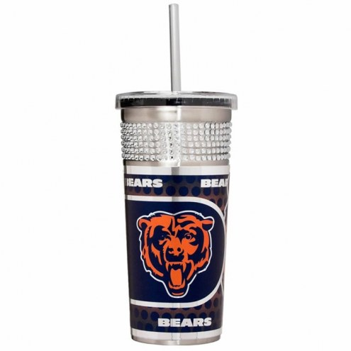 Chicago Bears Silver Bling Tumbler with Straw