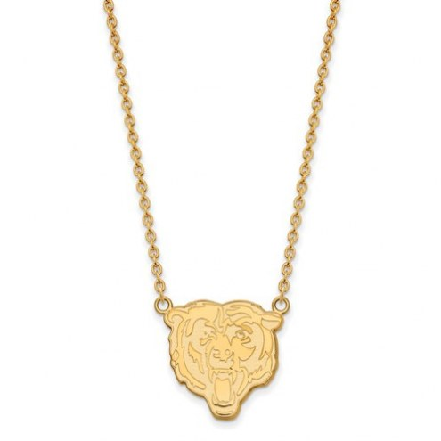 Chicago Bears Sterling Silver Gold Plated Large Pendant with Necklace