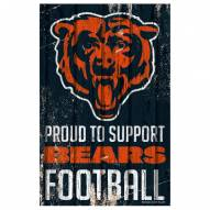 Chicago Bears Proud to Support Wood Sign