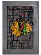 """Chicago Blackhawks 11"""" x 19"""" City Map Framed Sign"""