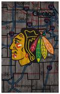 "Chicago Blackhawks 11"" x 19"" City Map Sign"
