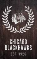 "Chicago Blackhawks 11"" x 19"" Laurel Wreath Sign"