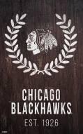 "Chicago Blackhawks 11"" x 19"" Laurel Wreath Sign"