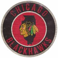 """Chicago Blackhawks 12"""" Circle with State Sign"""