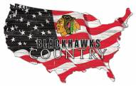 "Chicago Blackhawks 15"" USA Flag Cutout Sign"