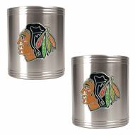 Chicago Blackhawks 2-Piece Stainless Steel Can Koozie Set - Primary Logo