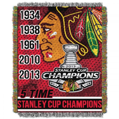 Chicago Blackhawks 2013 Champs Woven Tapestry Throw Blanket