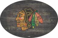 """Chicago Blackhawks 46"""" Distressed Wood Oval Sign"""