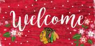 "Chicago Blackhawks 6"" x 12"" Floral Welcome Sign"