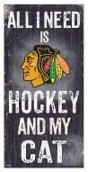 """Chicago Blackhawks 6"""" x 12"""" Hockey & My Cat Sign"""