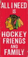 "Chicago Blackhawks 6"" x 12"" Friends & Family Sign"