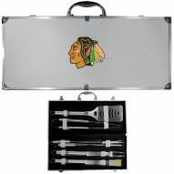Chicago Blackhawks 8 Piece Stainless Steel BBQ Set w/Metal Case