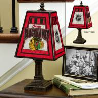 Chicago Blackhawks Art Glass Table Lamp
