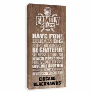 Chicago Blackhawks Family Rules Icon Wood Printed Canvas