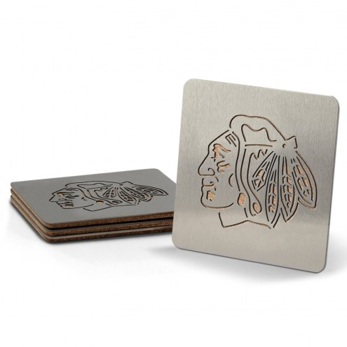 Chicago Blackhawks Boasters Stainless Steel Coasters - Set of 4