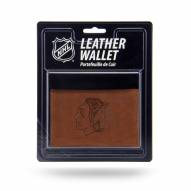 Chicago Blackhawks Brown Leather Trifold Wallet
