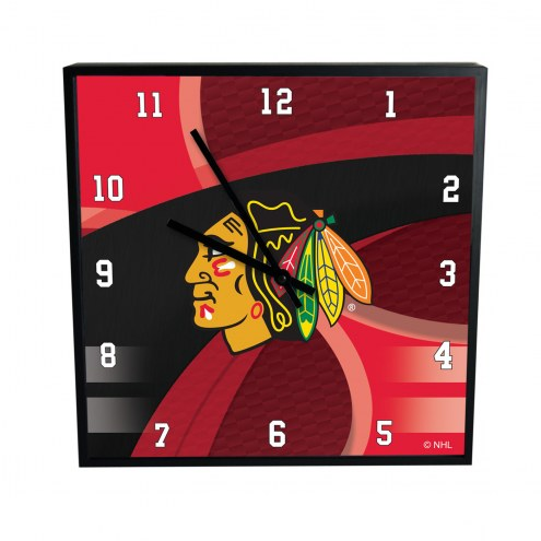 Chicago Blackhawks Carbon Fiber Square Clock