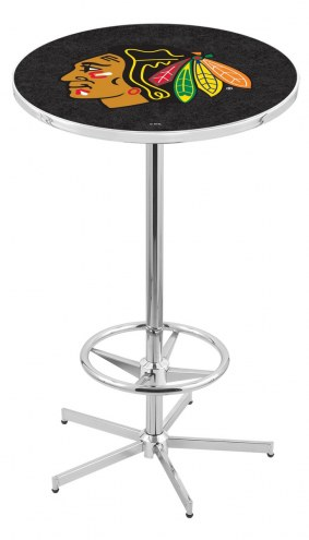 Chicago Blackhawks Chrome Bar Table with Foot Ring