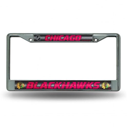 Chicago Blackhawks Chrome Glitter License Plate Frame