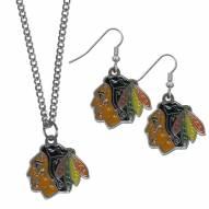 Chicago Blackhawks Dangle Earrings & Chain Necklace Set