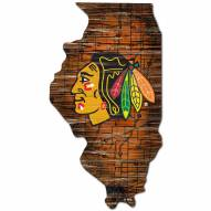 Chicago Blackhawks Distressed State with Logo Sign