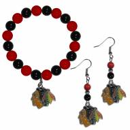 Chicago Blackhawks Fan Bead Earrings & Bracelet Set