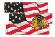 Chicago Blackhawks Flag 3 Plank Sign