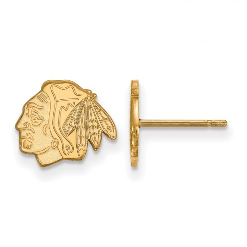 Chicago Blackhawks Sterling Silver Gold Plated Extra Small Post Earrings
